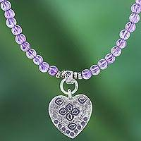 Amethyst beaded pendant necklace, 'Emboldened Heart' - 950 Silver Heart Pendant Necklace with Amethyst Beads