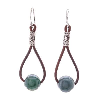 Hill Tribe Green Agate and Leather Dangle Earrings