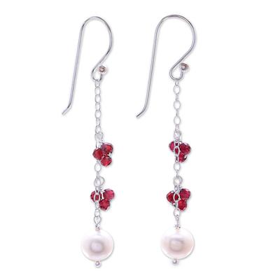 Long Sterling Silver Garnet and Pearl Earrings