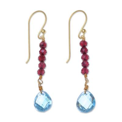 Gold Plated Earrings with Garnet and Blue Topaz