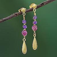 Gold plated amethyst and tourmaline dangle earrings, 'Aria' - Gold Plated Tourmaline and Amethyst Dangle Earrings
