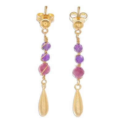 Gold Plated Tourmaline and Amethyst Dangle Earrings