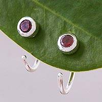 Garnet half hoop earrings, 'Back to Front' - Petite Thai Sterling Silver Half Hoop Earrings with Garnets