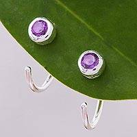Amethyst half hoop amethyst earrings, 'Back to Front' - Petite Thai Sterling Silver Half Hoop Earrings with Amethyst