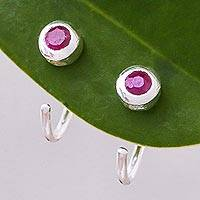 Ruby half-hoop earrings, 'Back to Front' - Petite Thai Sterling Silver Half Hoop Earrings with Ruby