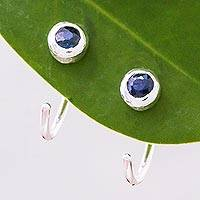 Sapphire half hoop earrings, 'Back to Front' - Petite Thai Sterling Silver Half Hoop Earrings with Sapphire
