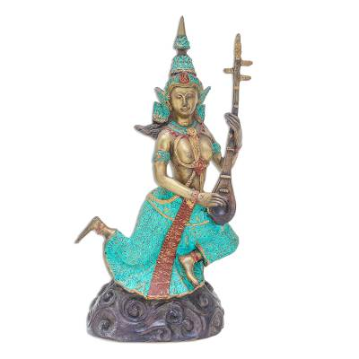 Thai Brass Buddhist Angel Sculpture with a Seung Lute
