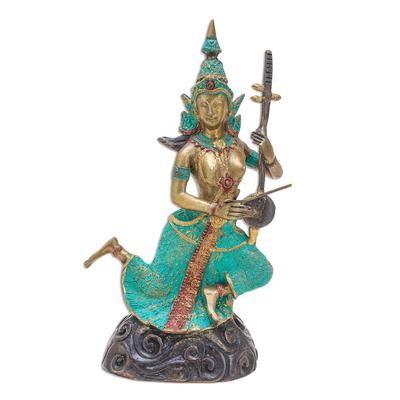 Thai Brass Buddhist Angel Sculpture with a Thai Violin