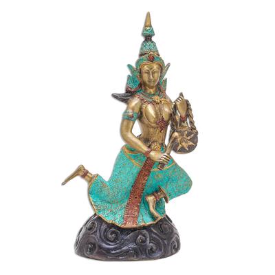 Thai Brass Buddhist Angel Sculpture with a Gong