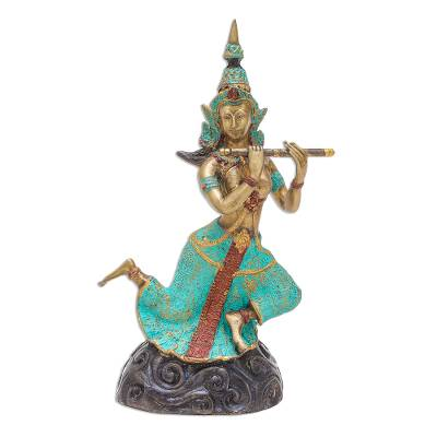 Thai Brass Buddhist Angel Sculpture with a Flute