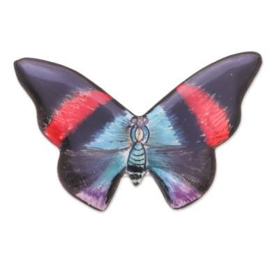 Colorful Handmade Ceramic Butterfly Brooch Pin
