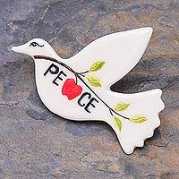 Ceramic brooch pin, 'Dove's Message' - Dove of Peace Brooch Handmade from Ceramic