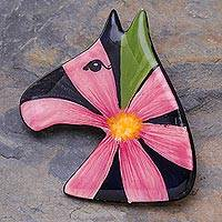 Ceramic brooch pin, 'Blossoming Pony' - Multicolored Ceramic Pony Brooch Pin
