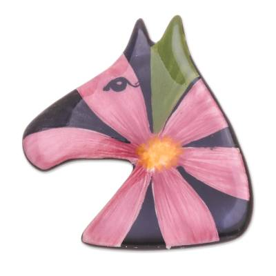 Multicolored Ceramic Pony Brooch Pin