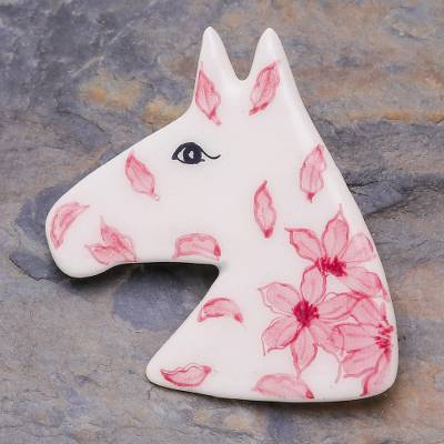 Ceramic brooch pin, 'Blooming Pony' - Floral Horse Hand Painted Brooch Pin