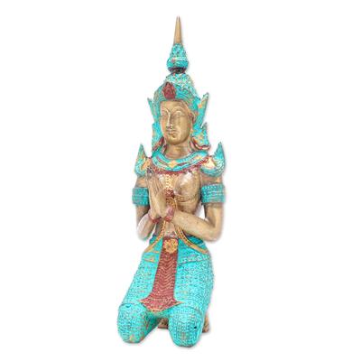 Thai Brass Sculpture of a Woman Buddhist Angel