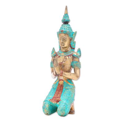Brass Sculpture of a Kneeling Thai Angel in Green