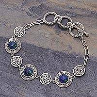 Azure malachite filigree link bracelet, 'Eternal Sea' - Handmade Thai Azure Malachite and Silver Filigree Bracelet