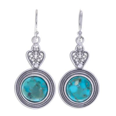 Handcrafted Thai Sterling Silver and Chrysocolla Earrings