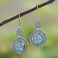 Roman glass dangle earrings, 'Mesmerizing Color' - Handcrafted Thai Sterling Silver and Roman Glass Earrings
