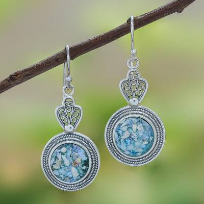 Roman glass dangle earrings, Mesmerizing Color