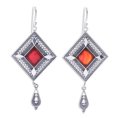 Diamond Shapes Sterling Silver and Carnelian Dangle Earrings