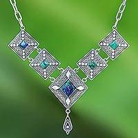 Azure malachite pendant necklace, 'Silver Diamonds' - Diamond Shapes Sterling Silver and Azure Malachite Necklace