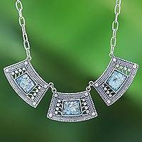 Roman glass pendant necklace, 'Ancient Sky' - Handcrafted Thai Sterling Silver and Roman Glass Necklace