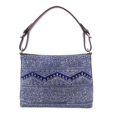 Blue Batik Print Cotton Hill Tribe Style Handbag