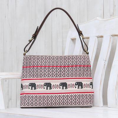 Leather-accented cotton shoulder bag, 'Hmong Elephants' - Elephant Motif Cotton and Leather Shoulder Bag