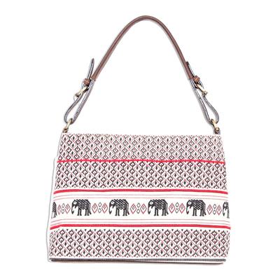 Elephant Motif Cotton and Leather Shoulder Bag