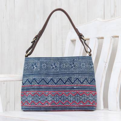 Leather-accented cotton batik handbag, 'Hmong Tribute' - Indigo Batik Shoulder Bag with Brown Leather Accents