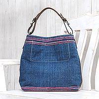 Leather-accented cotton shoulder bag, 'Hmong Casual' - Indigo Blue Cotton Thai Shoulder Bag