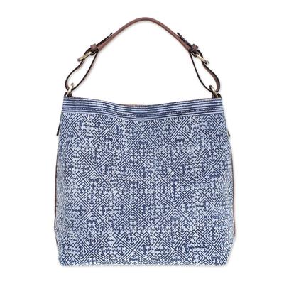 Batik Printed Cotton Shoulder Bag with Leather Trim