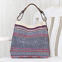 Leather-accented cotton batik shoulder bag, 'Hmong Labyrinth' - Leather-Accented Batik Cotton Shoulder Bag