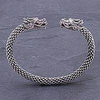 Sterling silver cuff bracelet, 'Double Dragons' - Dragon Themed Unisex Sterling Silver Cuff Bracelet