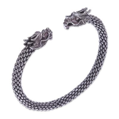 Dragon Themed Unisex Sterling Silver Cuff Bracelet