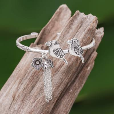 Sterling silver cuff bracelet, 'Rainforest Birds' - Rainforest Bird Themed Sterling Silver Cuff Bracelet