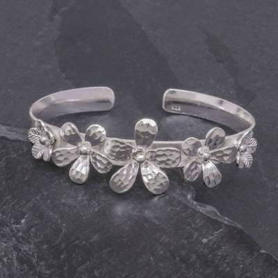 Sterling silver cuff bracelet, 'Blossom Row' - Hammered Sterling Silver Flower Cuff Bracelet