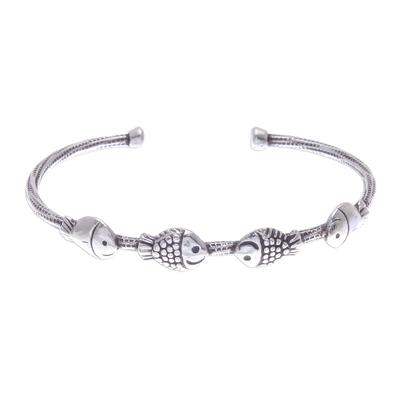 Fish Family 950 Silver Cuff Bracelet