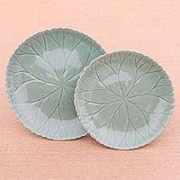 Celadon ceramic plates, 'Lotus Garden' (pair) - Food Safe Celadon Ceramic Lotus Motif Plates (Pair)