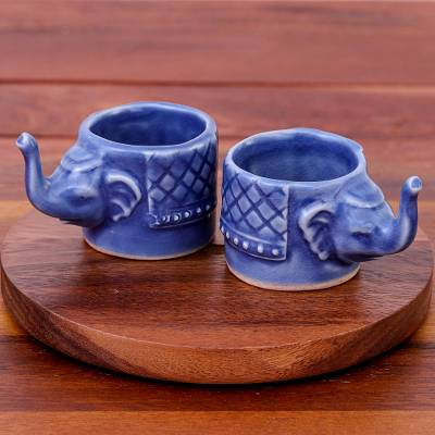 Celadon ceramic teacups, 'Elephant Essence in Blue' (pair) - Small Elephant Shaped Blue Celadon Teacups (Pair)
