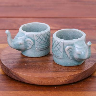 Celadon ceramic teacups, 'Elephant Essence in Aqua' (pair) - Aqua Celadon Ceramic Elephant Themed Teacups (Pair)