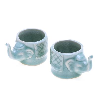 Aqua Celadon Ceramic Elephant Themed Teacups (Pair)