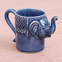 Celadon ceramic mug, 'Elephant Essence in Indigo' - Blue Celadon Ceramic Elephant Mug