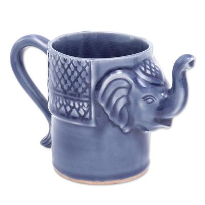 Blue Celadon Ceramic Elephant Mug
