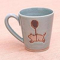Celadon ceramic mug, 'When Pigs Fly' - Aqua Celadon Mug with Flying Pig Motif