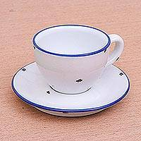 Ceramic cup and saucer, 'Rustic Charm' - Shabby Chic White Cup and Saucer Set