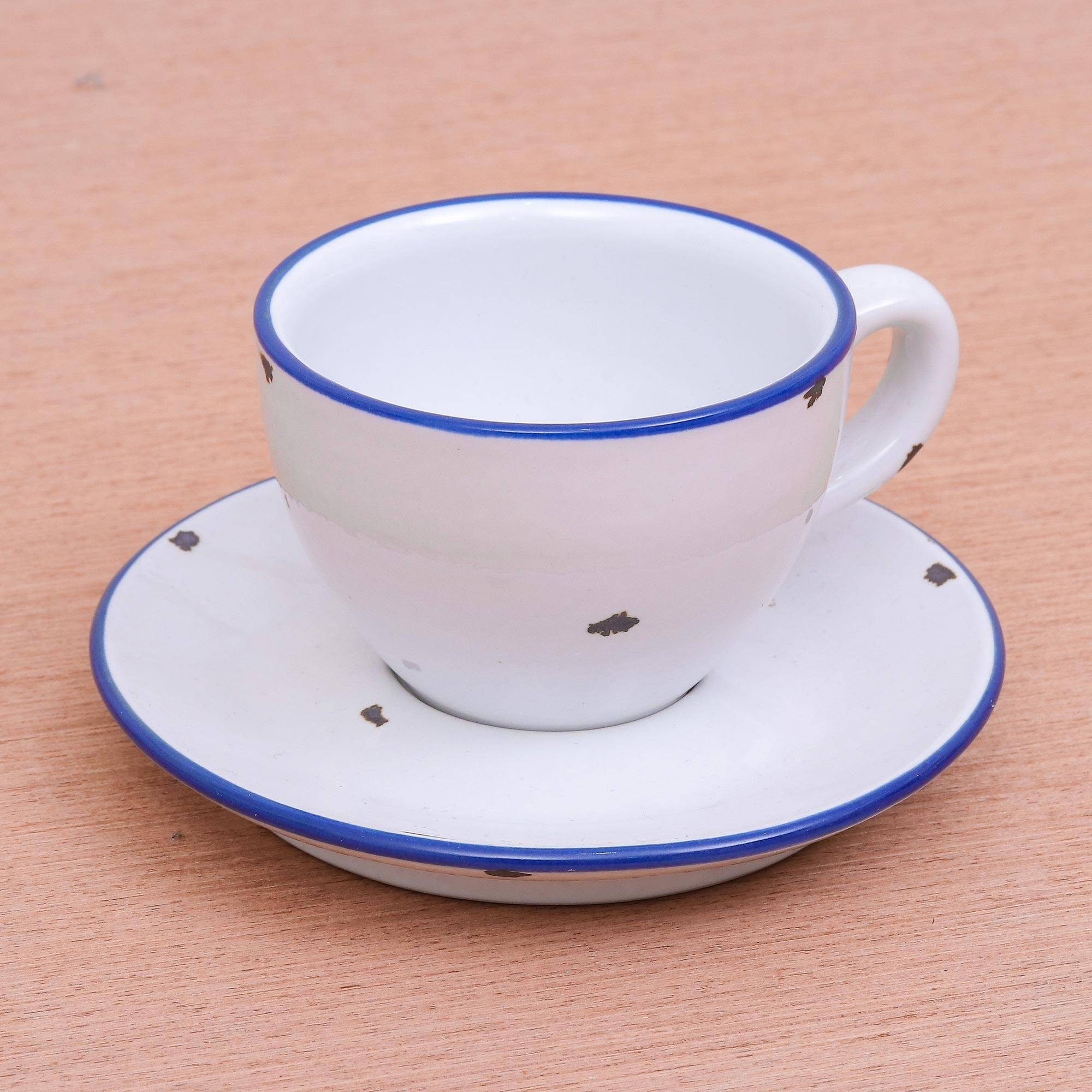 Shabby Chic White Cup And Saucer Set Rustic Charm Novica