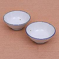 Ceramic bowls, 'Rustic Charm' (pair) - Enamelware-Look Ceramic Bowls from Thailand (Pair)